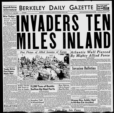Page one newspaper June 6, 1944