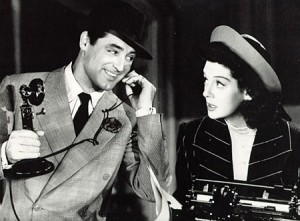 Cary Grant & Rosalind Russell in His Girl Friday