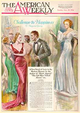 cover image shows a society ball illustration for 'Challenge to Happiness' story