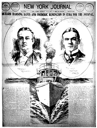 New York Journal front page with pictures of reporter Davis and artist Remington
