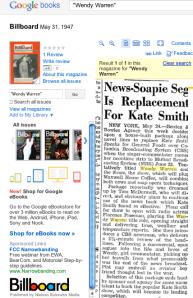 Google archive search of Billboard magazine for Wendy Warren stories