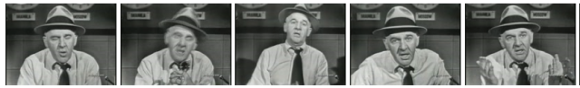 Thumbnail images from Winchell TV broadcast, still with the hat
