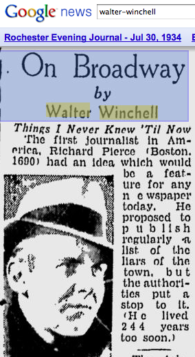 How Winchell's syndicated column looked in 1934