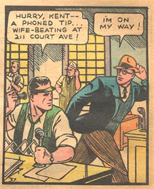 Cartoon image of Clark Kent and editor
