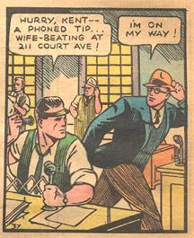 Cartoon image of Clark Kent and editor