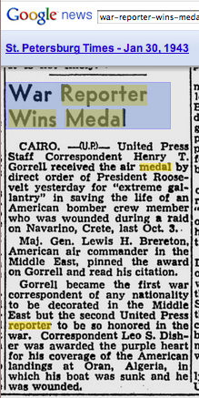 "News clip: ""War  Wins Medal"""